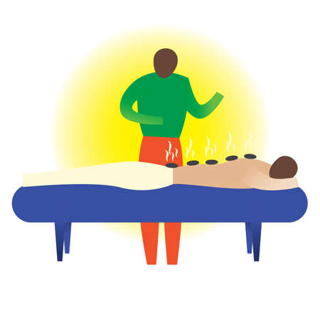 hot stones: therapist giving a hot stones massage