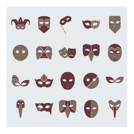 medico: set of carnival masks Illustration