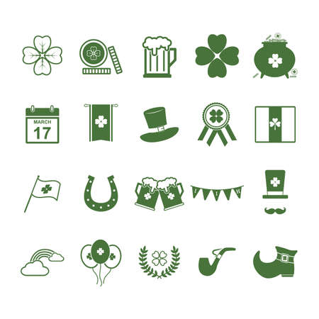 17 of march: set of st.patricks day icons