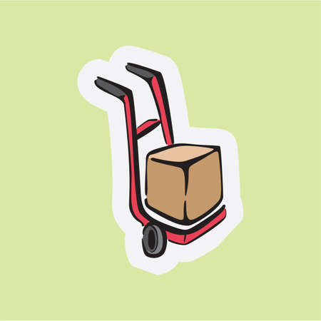 hand truck: hand truck with cardboard box