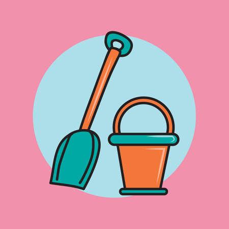 bucket: a bucket and shovel