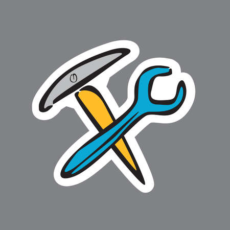 pickaxe: pickaxe and spanner Illustration