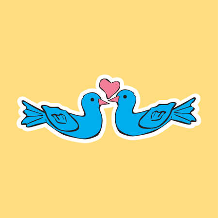 lovebirds: heart with a pair of lovebirds