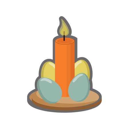 easter candle: easter eggs and candle