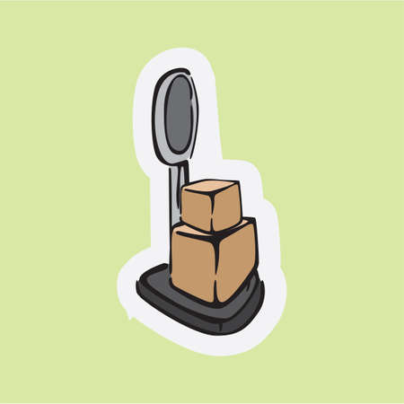 box weight: cardboard boxes on weighing machine