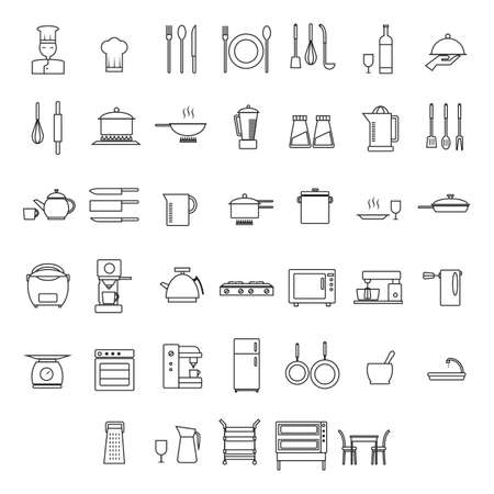 measuring spoon: set of chef and home appliance icons
