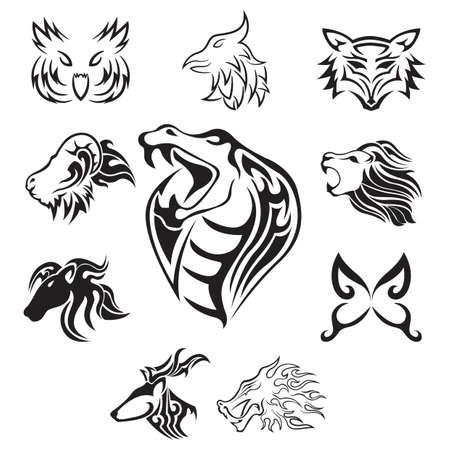 verzameling van dieren tatoeages