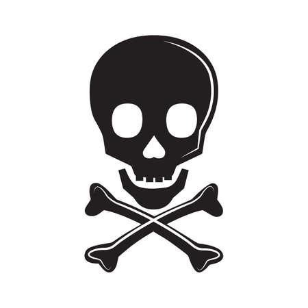 skull with crossed bones: silhouette of a skull Illustration