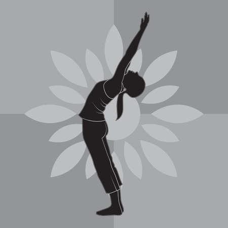 silhouette ragazza praticare lo yoga in segno di saluto verso l'alto posa