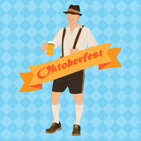 bavarian: bavarian man with beer mug Illustration