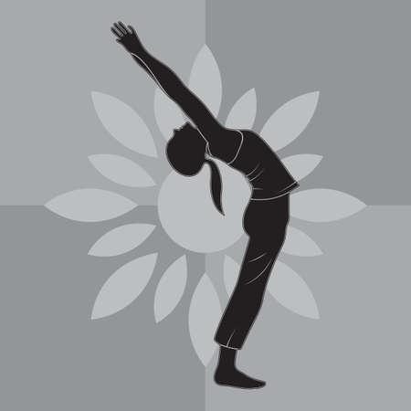 girl silhouette practising yoga in upward salute pose Vettoriali