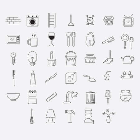 first aid kit key: set of home appliance icons Illustration