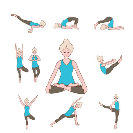 mind body soul: set of yoga icons
