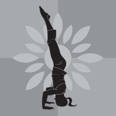 headstand: girl silhouette practising yoga in supported headstand pose Illustration