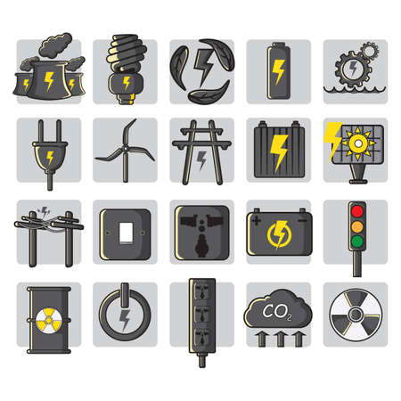 carbon emission: set of electric icons