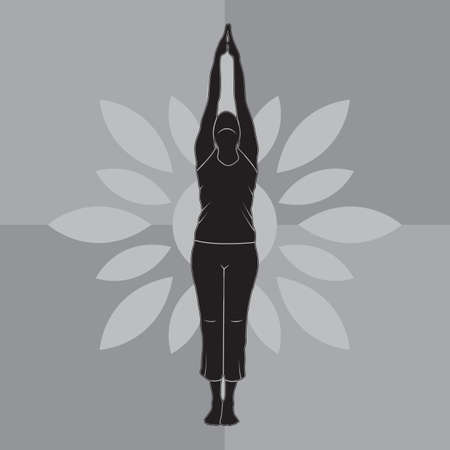 upward: girl silhouette practising yoga in upward salute pose Illustration