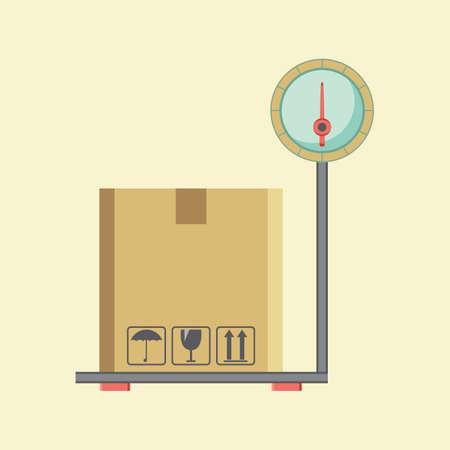 weighing: box on the weighing machine
