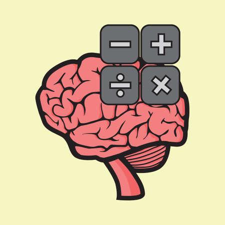 multiply: brain calculation concept Illustration
