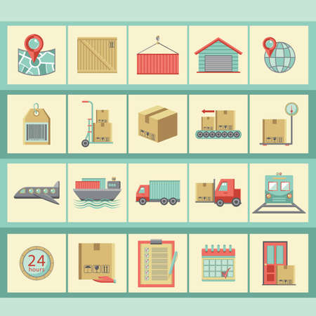 twenty four hour: collection of logistic icons
