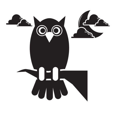 silhouette of an owl Vectores