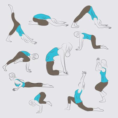 set of yoga icons