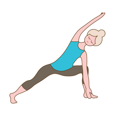 side angle pose: girl practising yoga in extended side angle pose