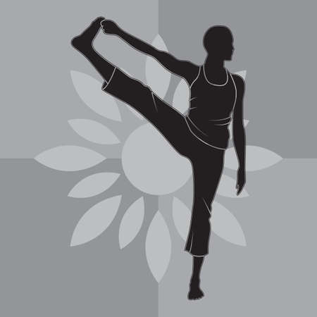big toe: girl silhouette practising yoga in extended hand-to-big-toe pose