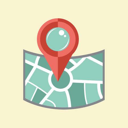 map pin: map with navigation pin
