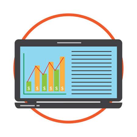 display: business graph on computer display Illustration