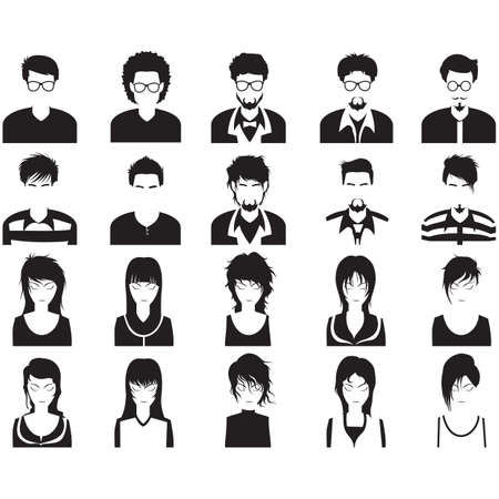 man long hair: collection of people Illustration