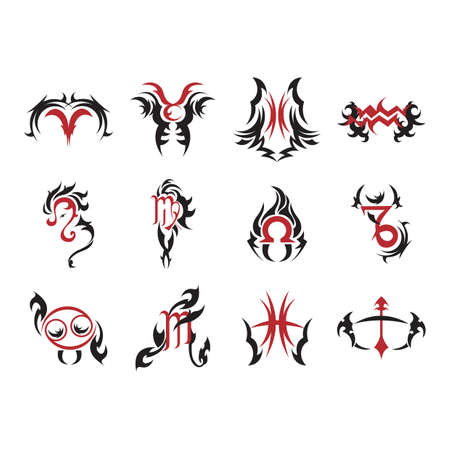 capricornio: colección de signos del zodiaco tatuajes Vectores