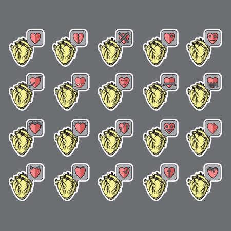 misery: set of heart icons Illustration
