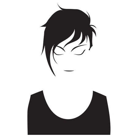 woman short hair: woman with closed eyes