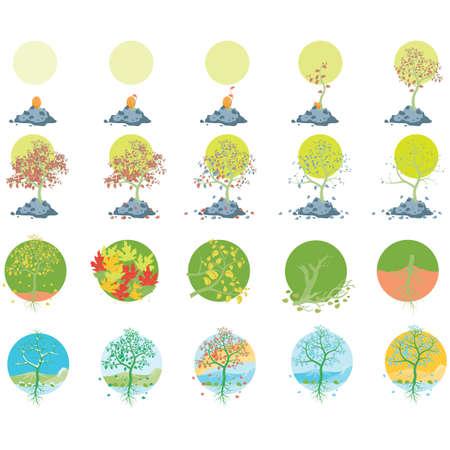 conjunto de iconos de árboles