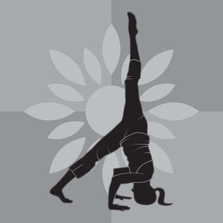 sequence: girl silhouette practising yoga in supported headstand sequence Illustration