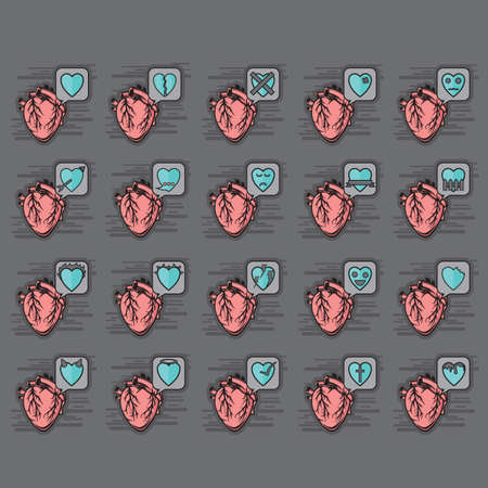 miserable: set of heart icons Illustration