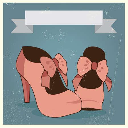 HEELS: woman heels on invitation card Illustration