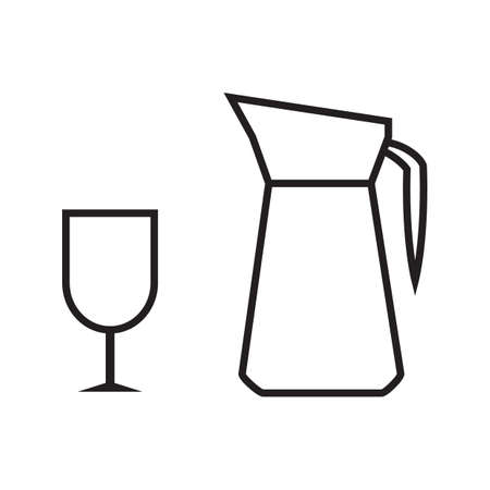 pitcher: glass pitcher with wine glass