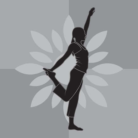 sequence: girl silhouette practising yoga in lord of the dance sequence Illustration