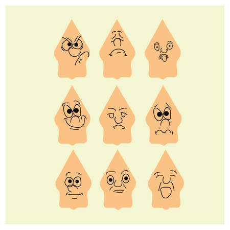 making face: character with different facial expressions