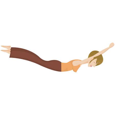 langosta: chica practicando yoga en actitud de la langosta