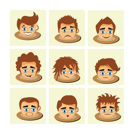 smirking: characters with different facial expressions Illustration