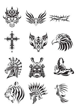 colección de varios tatuajes tribales Ilustración de vector