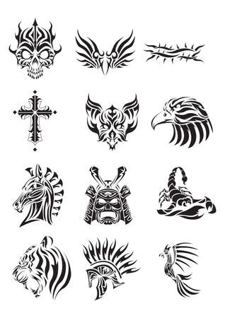 cross and eagle: collection of various tribal tattoos