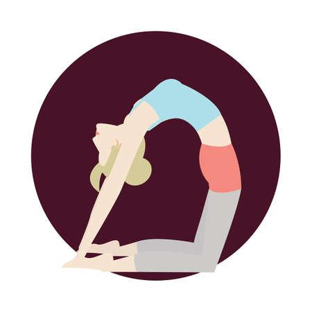 girl practising yoga in camel pose