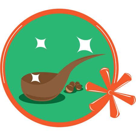 ladle: wooden ladle Illustration