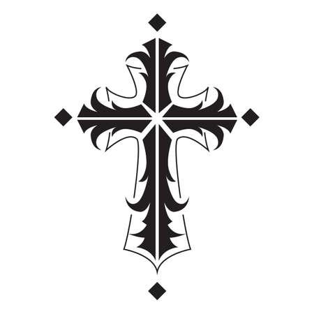 cruz símbolo tatuaje Ilustración de vector