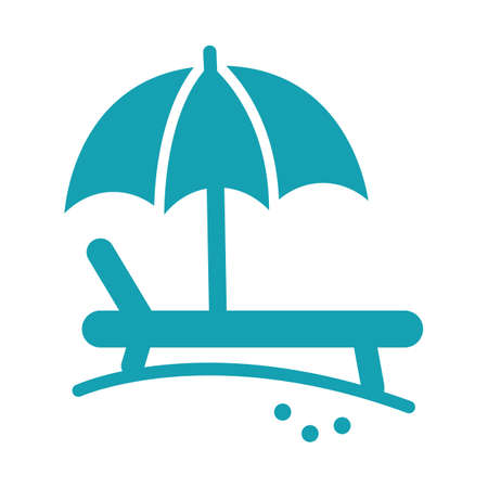 sunbathe: beach bench with umbrella Illustration