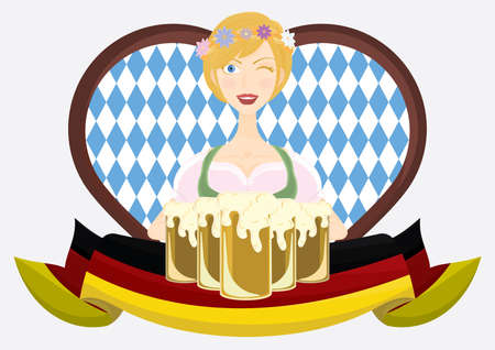 bavarian girl: bavarian girl with beer mugs