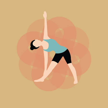 revolved: woman practising yoga in revolved triangle pose